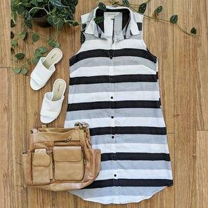 🖤Modern Stripe Sleeveless Button Down Dress-SM